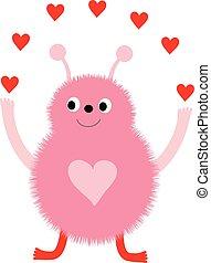 rosa, carino, mostro, valentine, augurio, divertente, vettore, cuori, giorno, scheda