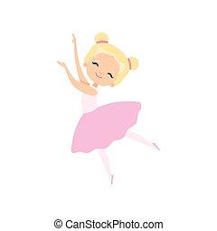 rosa, carino, poco, ballo, ballerina, ballerino, tutu, carattere, balletto, illustrazione, vettore, ragazza, vestire