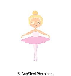 rosa, carino, poco, ballo, ballerina, ballerino, tutu, carattere, balletto, illustrazione, vettore, biondo, vestire, ragazza