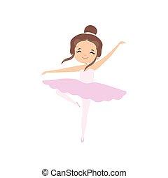 rosa, carino, poco, brunetta, ballo, ballerina, ballerino, tutu, carattere, balletto, illustrazione, vettore, ragazza, vestire