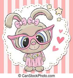 rosa, carino, ragazza, occhiali, coniglio