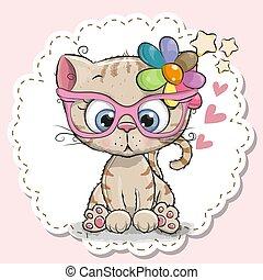 rosa, carino, ragazza, occhiali, gatto