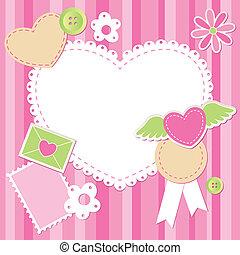 rosa, carino, scarto, set