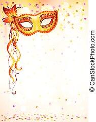 rosa, carnaval, luz, máscara, bokeh, plano de fondo, naranja