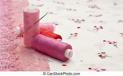 rosa, carrete, floral, tela, hilo
