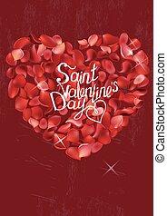 rosa, cartão cumprimento, com, frase, são, valentine, day., modelo, para, festivo, desenho, anúncios, advertisement.