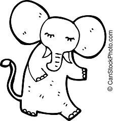 rosa, cartone animato, elefante