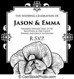 rosa, casório, convidar, modelo, convite