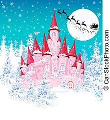 rosa, castello, inverno, 1, foresta