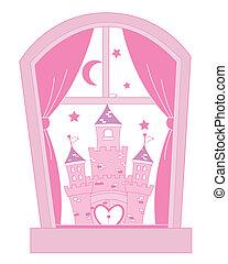 rosa, castillo, princesa