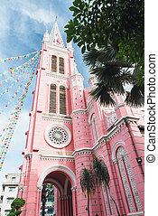 rosa, católico, hochiminh., dinh, iglesia, bronceado