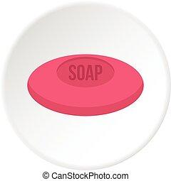 rosa, cerchio, sapone, icona