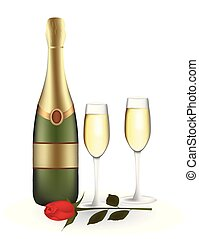 rosa, champagne, due, bottiglia, occhiali