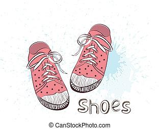 rosa, childrens, giovane adulto, o, scarpe