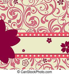 rosa, ciliegia fiorisce, fondo
