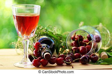 rosa, ciliegie, vino rosso