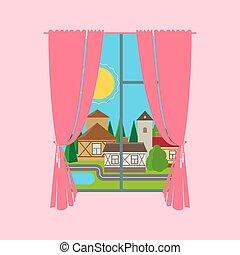 rosa, città, finestra, paesaggio, tenda