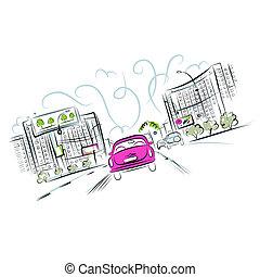 rosa, ciudad, coche, diseño, su, camino
