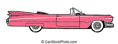 rosa, clásico, aislado, coche, retro