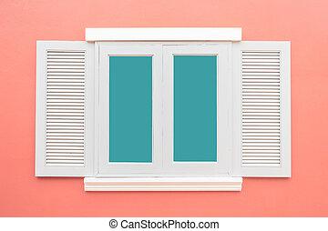rosa, classico, colorare, vendemmia, parete, finestra, fondo, bianco