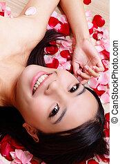 rosa, close-up, menina, fundo, sorrindo