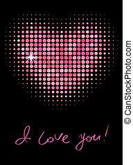 rosa, colorare, forma, halftone, cuore
