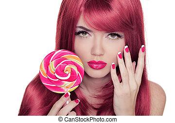 rosa, coloritura, colorito, bellezza, trucco, capelli, presa a terra, manicured, ritratto, ragazza, lecca lecca, nails.