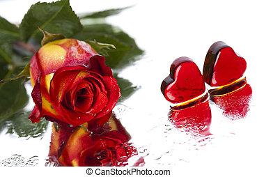 rosa, com, coração, para, amor