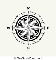 rosa, compás, escala, de navegación, (windrose)