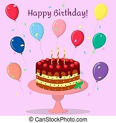 rosa, compleanno, crema, candele, contro, cioccolato, ciliegie, fondo, confetti., torta, piastra., palloni