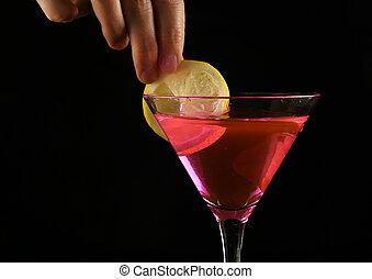 rosa, concetto, limone, cocktail, mani, donna, dark., prepara, festa