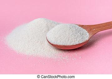rosa, concetto, naturale, sopra, collageno, cosmetico, cucchiaio, fondo, polvere, cura pelle