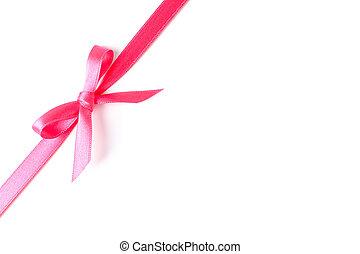 rosa, concetto, regalo, isolato, arco, fondo., nastro bianco