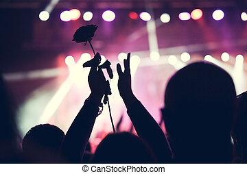 rosa, concierto, multitud, aplausos