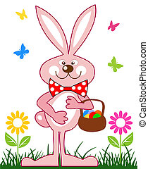 rosa, conejo, con, cesta huevos pascua