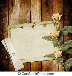 rosa, congratulazione, cartolina, vendemmia, rose, fondo,...