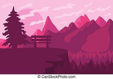 rosa, conifero, esterno, panorama., parco, sunrise., panca, forest., vettore, tramonto, o, paesaggio