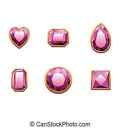 rosa, conjunto, coloreado, gems.