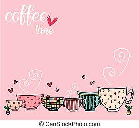 rosa, conjunto de café, espacio, tazas, garabato, diferente, mano, plano de fondo, diseños, patrón, copia, texto, dibujo