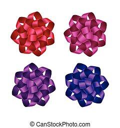rosa, conjunto, regalo, púrpura, brillante, arcos, cinta...