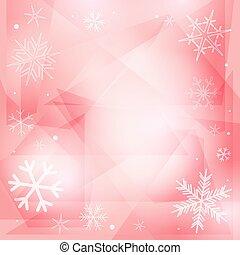 rosa, copos de nieve, plano de fondo