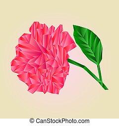 rosa, cor-de-rosa, flores, caule, com, folhas, polígonos, vector.eps