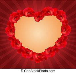 rosa, coração vermelho