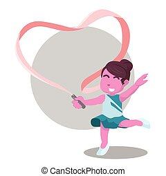 rosa, corazón, ella, formado, bailarín, elaboración, cinta