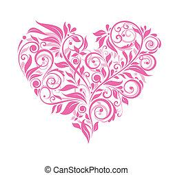 rosa, corazón, floral, tarjeta de felicitación