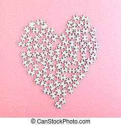 rosa, corazón, hecho, rompecabezas, forma, plano de fondo