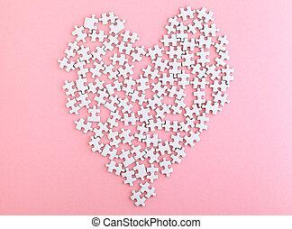 rosa, corazón, hecho, rompecabezas, plano de fondo, agudo