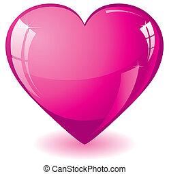 rosa, corazón, resplandor