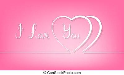 rosa, corazón, resumen, fondo., línea, pareja