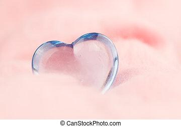 rosa, corazón, transparente, fondo., valentine's, día